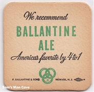 Ballantine Ale 4 to 1 Beer Coaster