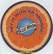 Blue Moon With Orange Beer Coaster