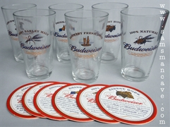 Budweiser Ingredients Glass Set with Coasters