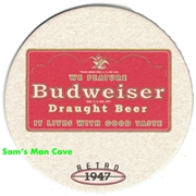 Budweiser 1947 Retro Logo Beer Coaster