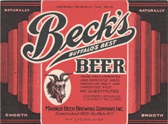 Beck's Buffalo's Best Beer IRTP Label